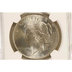 1922 PEACE SILVER DOLLAR NGC MS64 PLUS