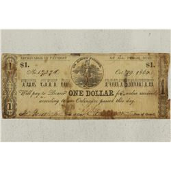 1862 CITY OF PORTSMOUTH $1 OBSOLETE BANK NOTE