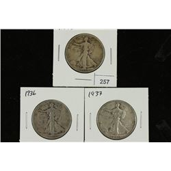 1934-S,36 & 37 WALKING LIBERTY HALF DOLLARS