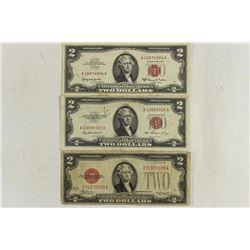 1928-D,53 & 63-A $2 US NOTES RED SEALS