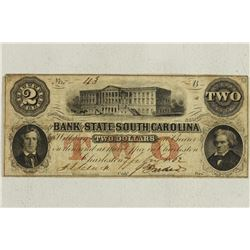 1862 BANK OF THE STATE OF SOUTH CAROLINA $2