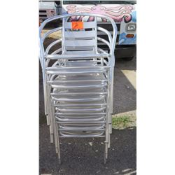 Qty 8 Contemporary Metal-Frame Chairs, Horseshoe Back