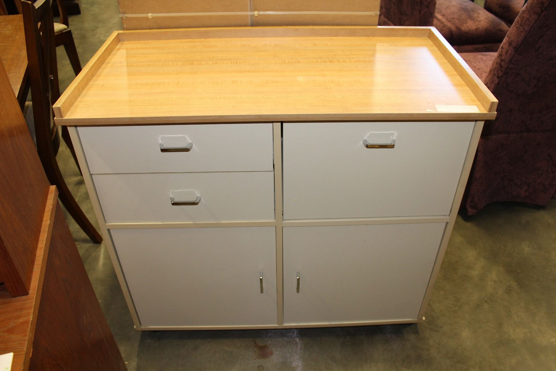 Maple Top Rolling Kitchen Cart