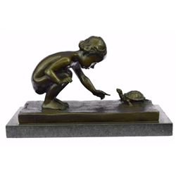 Girl Playing With Turtle BronzeSculpture on Marble Base Figurine