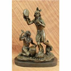 Native American Art Indian Ceremonial Drummer Bronze Statue