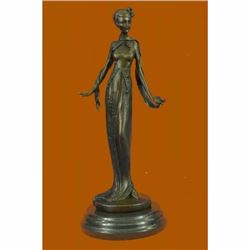 Art Nouveau Fashion Model Bronze Sculpture