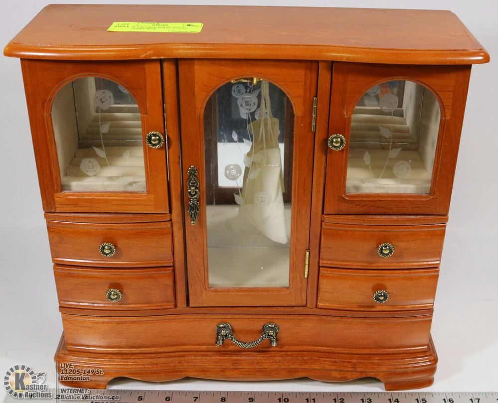 Large vintage solid wood jewelry box kastner auctions for Solid wood jewelry chest