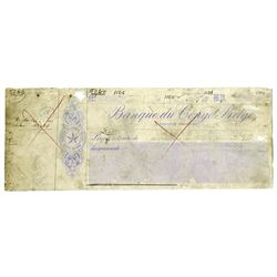 Banque du Congo Belge, 19xx (ca.1900-1910) Proof Check by Waterlow & Sons.