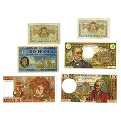 Banque de France & Others, ca. 1940s-1970s, Group of 6 Issued Notes
