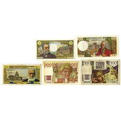 Banque De Francs, French Banknote Assortment, ca. 1945-1961.