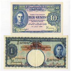 Board of Commissioners of Currency Malaya, 1941 (1945), Pair of Issued Notes