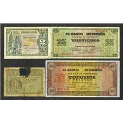 Banco de Espana. 1938 Issues.