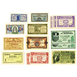 Various Spanish Issuers, ca. 1930s, Group of 16 Issued Notes