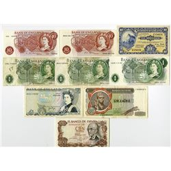 Bank of England & Other World Banknotes, Lot of 9