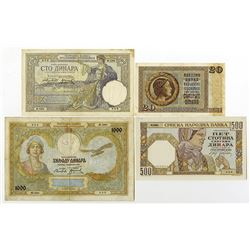 Kingdom of Yugoslavia, 1942 Issue Banknote Assortment.