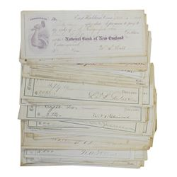 National Bank of New England, ca.1870-1880 Issued Checks