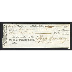 Bank of Pennsylvania, 1796, Issued Check