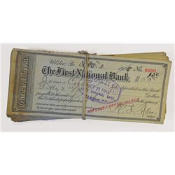 First National Bank ca.1900 Certificate of Deposit Assortment.