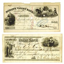 Ilion Bank and Mohawk Valley Bank, 1854-1855, Pair of Checks