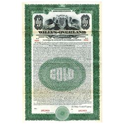 Willys-Overland Co., 1923 Specimen Bond