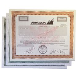 Aviation and Railroad Specimen Stock Certificate Trio, ca.1980's.
