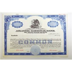 Atlantic National Bank of West Palm Beach, ca.1950-1960 Specimen Stock Certificate