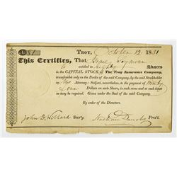 Troy Insurance Co., 1831 Stock Certificate.