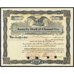 Santa Fe Dock and Channel Co. Issued Stock.
