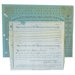 Harrisonburg Iron Gate Building and Improvement Co., Issued Stock Certificate and Receipts 1890