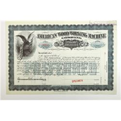 American Wood Working Machine Co., ca.1880-1900 Specimen Stock Certificate