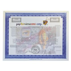 Television, Movie, and Internet Entertainment Specimen Stock Certificates, ca.1990-2000