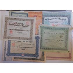 Group of Issued French Entertainment Bonds, ca.ca.1920-1930