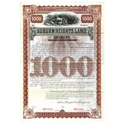 Auburn Heights Land Co., 1892 Specimen Bond