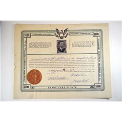 Ex-Soldiers Investment Industrial Co. 1928 Issued Share Certificate.