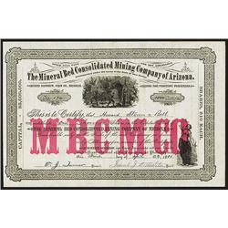 Mineral Bed Consolidated Mining Company of Arizona, 1881 Stock Certificate.
