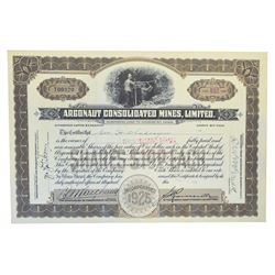 Argonaut Consolidated Mines, Ltd., 1926 lot of 6 Issued Stock Certificates