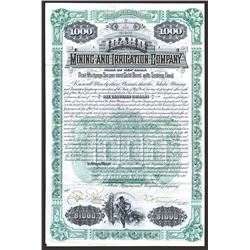 Idaho Mining and Irrigation Co., 1890 Issued 6% Gold Coupon Bond.