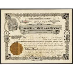 Turnagain Arm Gold Mining Co. 1907 Alaska Stock Certificate.