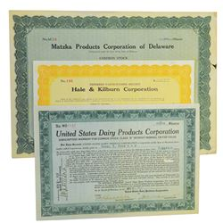 Group of Issued Industrial Stock Certificates ca.1900-1920