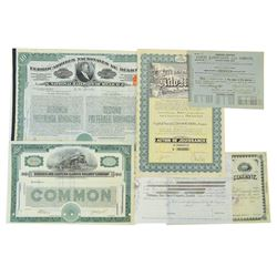 Miscellaneous Stock Certificate Lot of 6.