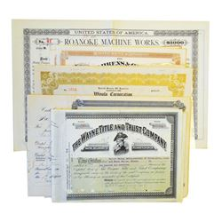 Group of Issued Stock and Bond Certificates ca.1900-1920