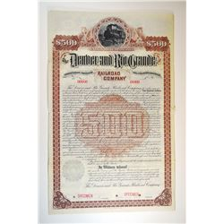 Denver and Rio Grande Railroad Co., 1888 Specimen Bond.