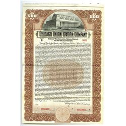Chicago Union Station Co., 1920 Specimen Bond