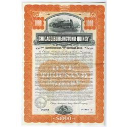 Chicago, Burlington & Quincy Railroad Co., 1899 Specimen Bond