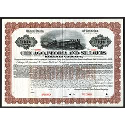 Chicago, Peoria and St.Louis Railroad Co. 1913 Specimen Bond.