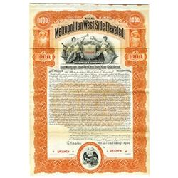 Metropolitan West Side Elevated Railway Co., 1898 Specimen Bond