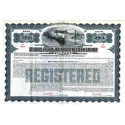 St. Louis, Peoria and North Western Railway Co., ca.1910-1920 Specimen Stock Certificate
