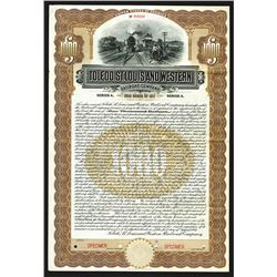 Toledo, St.Louis and Western Railroad Co.  Specimen Bond.