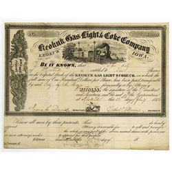 Keokuk Gas Light & Coke Co., 1856 Stock Certificate.