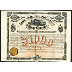 Lake Erie and Louisville Railway Issued Bond. 1872.